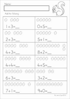 Math Worksheets & Activities - Autumn (Kindergarten). 45 pages. A page from the unit: Acorn Addition (to 10).