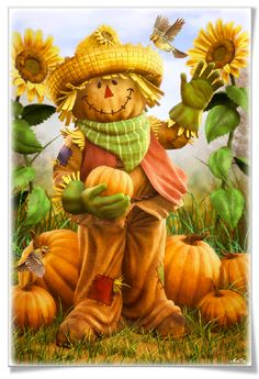 Fall Scarecrow by Christopher Tackett Cartoon character Illustration Share Pictures, Fall Pictures, October Pictures, Funny Pictures, Pumpkin Face, Fall Scarecrows, Scarecrow Crafts, Wonderful Day, Happy Fall Y'all