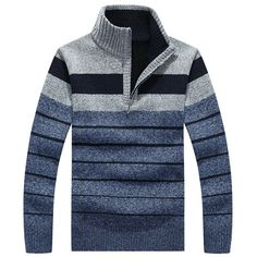Mens Warm Cashmere Stripes Knitted Sweaters Semi Turtleneck Pullovers Zipper Stand Collar Sweater at Banggood