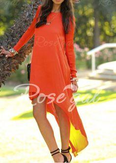 Simple Round Neck Long Sleeve Solid Color Chiffon Women's Dress Chiffon Dresses | RoseGal.com Mobile