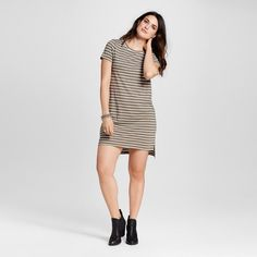 Women's Striped Knit T-Shirt Dress Olive Green & White XL - Mossimo