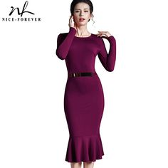 Nice-forever Casual Work dress Stylish Bodycon Office Lady Solid O Neck Full Sleeve Sequined Sheath Vintage Mermaid Dress b242 (34% discount)