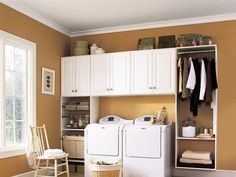 Have small laundry room? Got a boring laundry room? Need small laundry room design ideas? Don't worry, we're here to help you. Laundry Room Cabinets, Basement Laundry, Laundry Room Organization, Laundry Storage, Laundry Room Design, Closet Storage, Storage Cabinets, Storage Shelves, Diy Cabinets