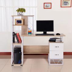 Modern Home Office Desk, White Desk Office, Home Office Furniture, Cool Furniture, Computer Workstation Desk, Printer Shelf, Table Shelves, Storage Shelves, Office Workstations