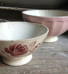 FleaingFrance......Cafe au Lait Bowls in Shades of Pink
