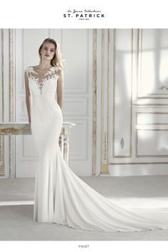 PAGET // A magnificently beaded wedding dress made from the finest bridal crepe and lace Wedding Dresses 2018, Designer Wedding Dresses, Bridal Dresses, Bridesmaid Dresses, Wedding Dresses Slim Fit, Wedding Dressses, Pronovias Wedding Dress, Form Fitting Wedding Dress, The Dress