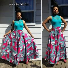 Flowy, african print skirt
