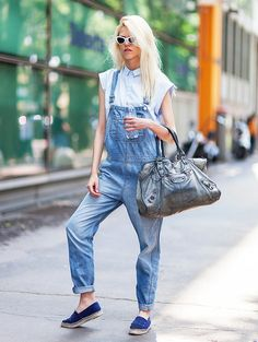 The chicest way to rock a pair of overalls? Wear a crisp button down shirt underneath with a pair of Chanel flats. // #StreetStyle