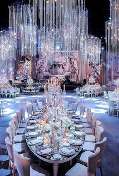 Luxury wedding decor ideas can be very different and require special attention. The best of them you will find in our gallery. MORE PICTS Yo. Wedding Venue Decorations, Wedding Themes, Wedding Designs, Stage Decorations, Luxury Wedding Decor, Glamorous Wedding, Luxury Decor, Wedding Lighting, Event Lighting