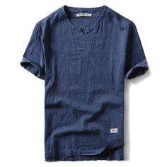 Mens Spring Summer Cotton Linen T-shirt V-Neck Chinese Style Short Sleeve Loose Fit Top Tee Linen Tshirts, T Shirts, Custom Shirts, Casual Shirts, Polos Tommy Hilfiger, Polos Lacoste, Camisa Polo, Branded Shirts, Kurta Designs