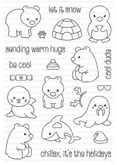 Clearly Besotted ARCTIC ANIMALS Clear Stamp Set zoom image