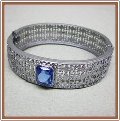 Art Deco Filigree Wide Bracelet Set with Blue Stone from Cobayley on Ruby Lane