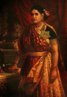 Rani Lakshmi Bayi of Travancore wearing the badge and ribbon of the order