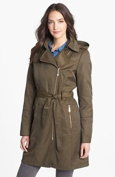 Vince Camuto Asymmetrical Zip Trench Coat with Detachable Hood available at #Nordstrom