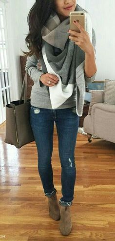 Fall Fashion - blue jeans, sweaters and boots