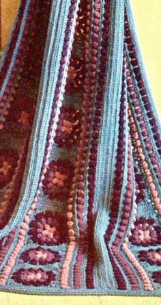 Purple Popcorn Afghan And Pillow - Free Crochet Pattern - (bestfreecrochet)