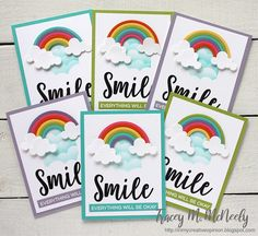 In My Creative Opinion: Sending Rainbows - Assembly Line Production Cloud Stencil, Karten Diy, Rainbow Card, Die Cut Cards, Friendship Cards, Rainbow Birthday, Get Well Cards, Heart Cards, Mothers Day Cards