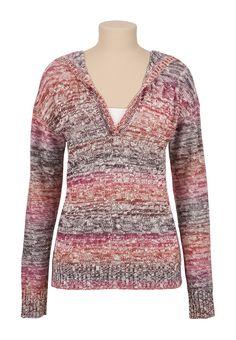 Stripe Mixed Stitch Hooded Sweater