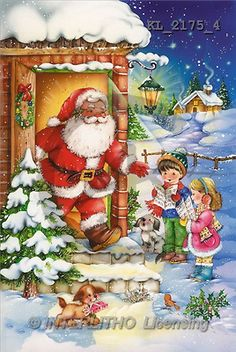 Interlitho, Michele, CHRISTMAS SANTA, SNOWMAN, paintings, santa, door, kids(KL2175/4,#X#) Weihnachtsmänner, Schneemänner, Weihnachen, Papá Noel, muñecos de nieve, Navidad, illustrations, pinturas