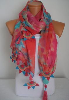 DELIVERY IN 1-5 DAYS! Orders are shipped in 3 business days and the tracking number is sent to you. Also please leave your telephone number while completing your order, as the shipping company requests. A perfect and unique accessory for all women!The scarf is handmade.This scarf