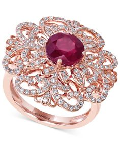 Effy Ruby (2-5/8 ct. t.w.) and Diamond (5/8 ct. t.w.) Flower Ring in 14k Rose Gold