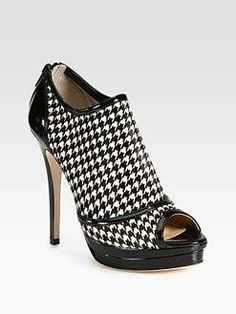 #Jerome C. Rousseau - Houndstooth Calf Hair & Patent Leather Ankle Boots