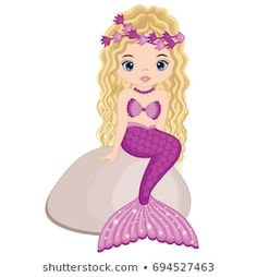 Vector cute mermaid sitting on stone. Cute Mermaid, Mermaid Art, Little Mermaid Parties, The Little Mermaid, Silouette Cameo Projects, Angel Illustration, Princess Party Invitations, Mermaid Clipart, Cute Food Drawings