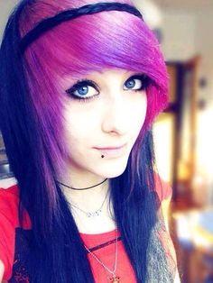 Purple bangs, super cute