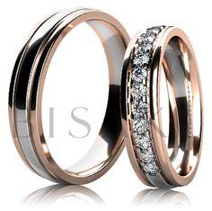 BD6-3 Elegantní snubní prsteny v kombinaci bílého a červeného zlata, jsou celé v lesklém provedení (vysoký lesk). Kraje jsou v červeném zlatě a prostřední část je v bílém zlatě. Dámský prsten je do poloviny zdoben kameny. #bisaku #wedding #rings #engagement #svatba #snubni #prsteny #design