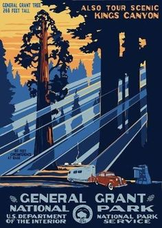 old posters sequoia national forest | Fridge Magnet vintage image of Travel Poster for Sequoia National Park ...