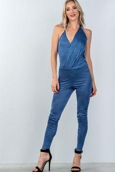 8b3eda364f L Polyester Spandex Blue TSH Ladies fashion low back halter lapel drape  front jumpsuit Item Measurements  SIZE SMeasurements  SIZE