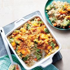 Cheesy Sausage, Broccoli, and Quinoa Casserole   MyRecipes We traded white rice for whole-grain quinoa and kicked out any processed ingredients for a new take on this comfort classic.