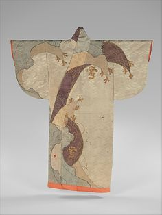 Japanese Embroidery Kimono Robe (Kosode) with Fishing Net and Characters Period: Edo period Date: probably ca. Culture: Japan Medium: Silk and metallic thread embroidery, tied resist dyeing on satin damask -