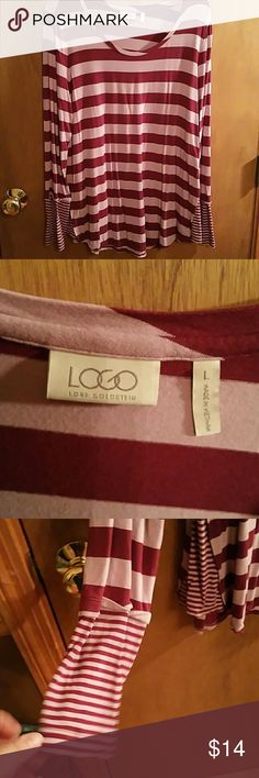 LOGO RASPBERRY AND PiNK STRIPE TOP IN LRG!!! Super cute top, flowy, cuffs and side panels are really cute, check out pics!!! Only worn 2x. Good condition!!! logo Tops Tees - Long Sleeve