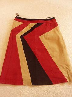Principles red, brown and beige corduroy knee-length skirt