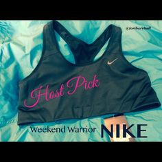 HOST PICK Black. NWT LargeNike high support Lowest PriceThis bra fit when I bought it this spring but when I tried it own it was too small! It has HIGH SUPPORT , DRI FIT, & a STAY COOL FEATURE! Has never been worn and comes from a smoke free home! Just took out of Nike bag today! Nike Tops