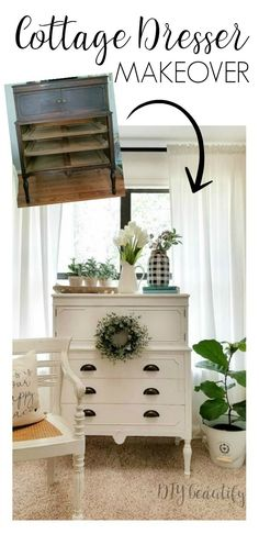 DIY Home Decor Inspiration : Illustration Description cottage white dresser makeover before and after -Read More – Diy Furniture Chair, Cottage Furniture, Refurbished Furniture, Furniture Styles, Repurposed Furniture, Furniture Making, Furniture Makeover, Bedroom Furniture, Home Furniture