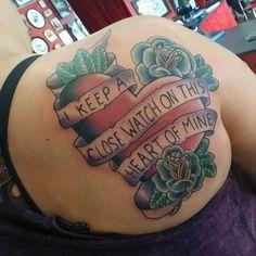 #freehand  #tattoo I did today on a client from Ohio. #traditionaltattoo  #heart #roses  #tattooedgirls  #kustomthrills  #eastnashville  #musiccity  #nashvilletattoo  #followme  #follow