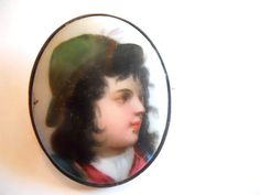 Superb hand painted miniature portrait brooch from the mid Unsigned. Gold plated, no flaws. Measures 1 tall by 1 wide. Painted Porcelain, Hand Painted, Miniature Portraits, Art Market, Miniatures, Brooch, Flaws, Vintage, Gold