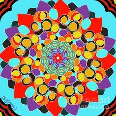 Bloom from Within. Digital art by Caroline Street. #bloom #flowerart #mandala #colour #symmetrical Mandala Colour, Mandala Art, Flower Art, Fine Art America, Digital Art, Greeting Cards, Bloom, Wall Art, Street