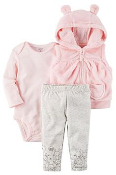 """Put together a wardrobe full of cute clothing with baby girl matching outfits from Babies""""R""""Us. Shop a collection of year-round baby girl outfits. Baby Shower Outfit For Guest, Maternity Dresses For Baby Shower, Vest Outfits, Baby Outfits, Kids Outfits, Newborn Outfits, Baby Fur Vest, Toddler Vest, Carters Baby Girl"""