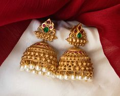Check out some of the breathtaking imitation antique jewellery designs like necklace sets and earrings from this popular brand called Karuni Jewellers. Small Gold Hoop Earrings, Gold Jhumka Earrings, Gold Earrings Designs, Antique Earrings, Antique Jewellery Designs, Gold Jewellery Design, Antique Jewelry, Gold Jewelry, Gold Mangalsutra Designs