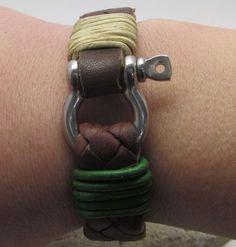 Men's leather bracelet, Mens braided bracelet, Men's cuff bracelet, Green cord leather with Stainless Steel omega clasp Men's Leather, Braided Leather, Nautical Bracelet, Mens Braids, Braided Bracelets, Bracelet Sizes, Silver Plate, Free Shipping, Brown