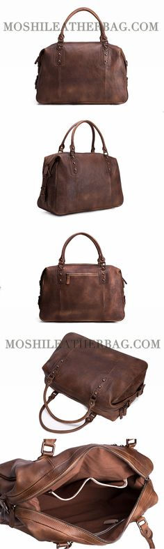 ae4ac5bed Vintage Style Vegetable Tanned Leather Travel Bag, Duffle Bag, Weekender  Bag, Holdall 9029