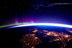 Great Britain and the Northern Lights from the International Space Station. / via @binx