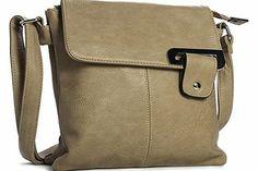 Big Handbag Shop Womens Medium Trendy Messenger Cross Body Shoulder Bag (9729 Beige) A small plain faux leather cross-body messenger bag with excellent stitching detail on the body Height 27 cm, Width 26.5 cm, Depth 3.5 cm