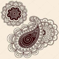 Mandala de flores desenhadas à mão e abstrata estampada do henna mehndi paisley floral tatuagem elementos de design ilustração doodles-vetor