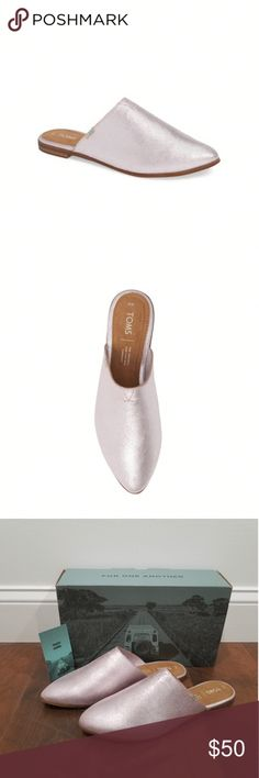 4ab0559e4c3 A Versatile Metallic Finish Leather Mule With A Classically Chic Pointy-Toe  Silhouette .