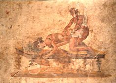 Erotic fresco without number, Secret Cabinet, Museo Archeologico Nazionale, Naples Ancient Pompeii, Pompeii Ruins, Ancient Art, Roman History, Art History, Greece Art, Art Of Love, Roman Art, Erotic Photography