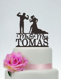 Muscle Man And Woman SilhouetteWedding Cake by SpecialDesignForYou